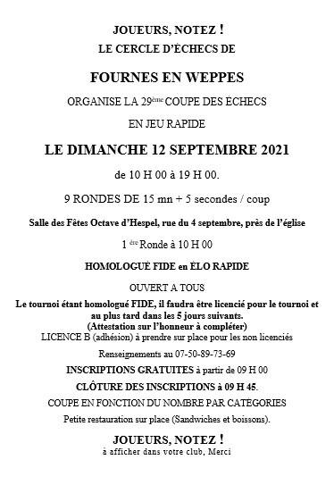 29eme Coupe des Echecs de Fournes en Weppes cover